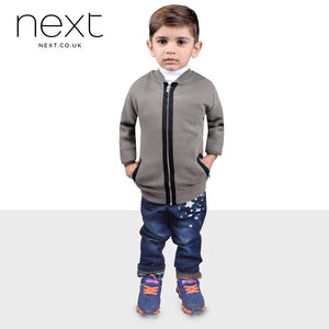 Next Lining Single Jersey Zipper Baseball Jacket For Kids-Light Green-NA466