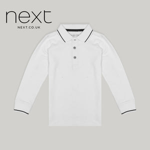 Next Long Sleeve P.Q Polo Shirt For Boys-White-NA5387