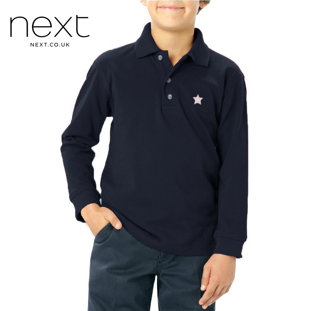 brandsego - Next Long Sleeve  P.Q Polo Shirt For Kids-Dark Navy-NA5360
