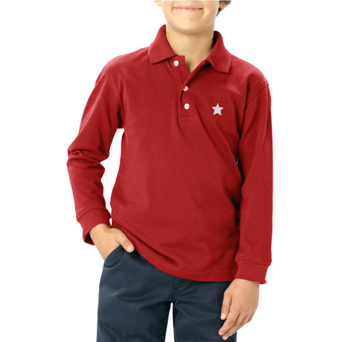 Next Long Sleeve Polo Shirt For Kids-Coral Red-NA5084