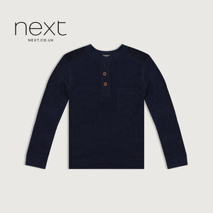 Next Long Sleeve Thermal Henley Tee Shirt For Boys-Dark Navy-NA5388