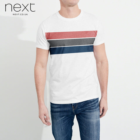 Next P.Q Crew Neck T Shirt For Man-White & Multi Stripe-NA940