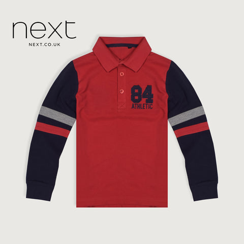 Next P.Q Polo Shirt For Kids-Red & Dark Navy-NA5384