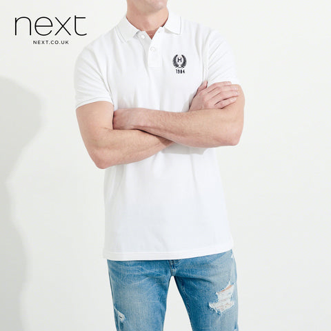 Next P.Q Polo Shirt For Men-White-NA5074