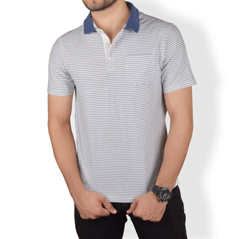 Next Polo Shirt For Men-Pink Navy  Stripe-BA000130
