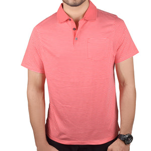 Next Polo Shirt For Men-Pink White Stripe-BA000131