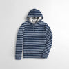 Next Rib Henley Hoodie For Kids-White & Blue Striper-NA6800