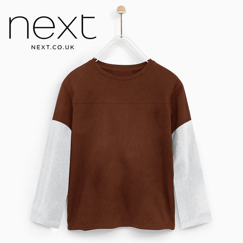 Next Single Jersey Crew Neck Long Sleeve Tee Shirt For Men-Dark Orange-NA5368