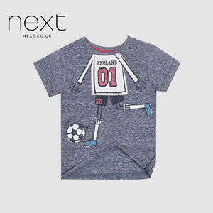 Next Single Jersey Half Sleeve Tee Shirt For Boys-Blue Melange-NA5389