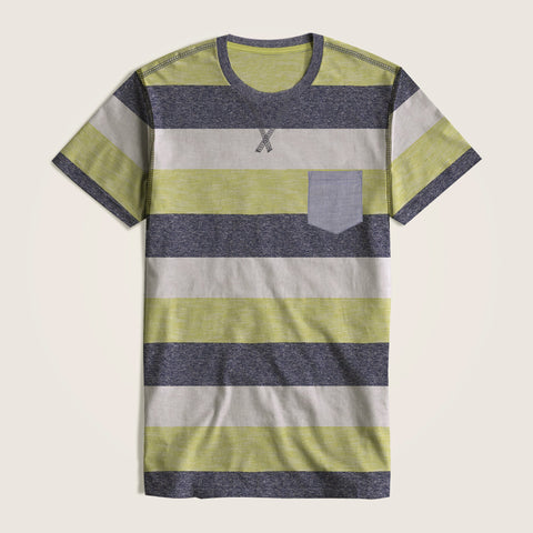 Next Single Jersey Pocket Style Tee Shirt For Kids-Parrot White & Navy Stripe-NA5395