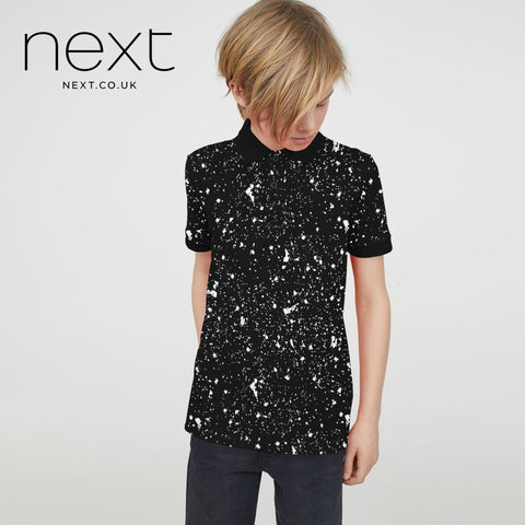 Next Single Jersey Polo Shirt For Kids-Black All Over Printed-NA5082