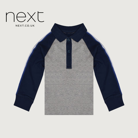 Next Single Jersey Polo Shirt For Kids-Gray & Dark Navy-NA5385