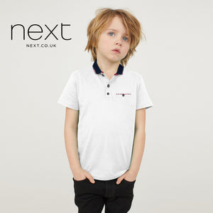 Next Single Jersey Polo Shirt For Kids-White-NA5374
