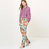 Next Straight Fit Cotton Trouser For Ladies-Allover Print-BE8650