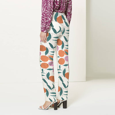 brandsego - Next Straight Fit Cotton Trouser For Ladies-Allover Print-BE8650