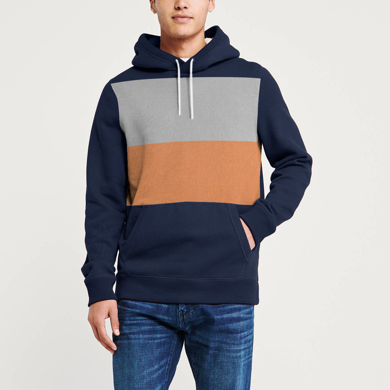 Next Terry Fleece Pullover Hoodie For Men-Navy Blue With Grey & Camel Panel-NA10646