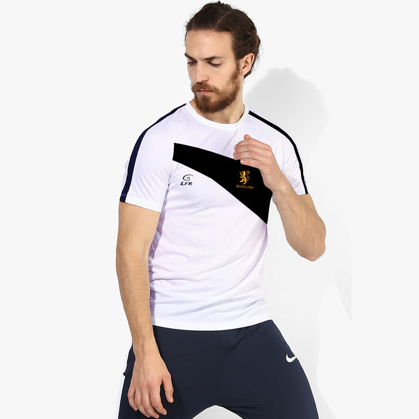 LFR Sports Crew Neck T Shirt For Men-White & Navy-BE3285