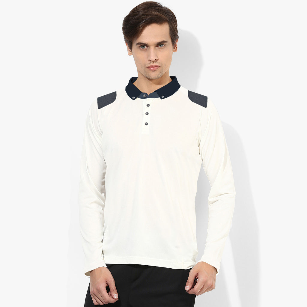"Men's Cut Label ""NEXT"" Long Sleeve Polo Shirt -White-(NRSPS14)"