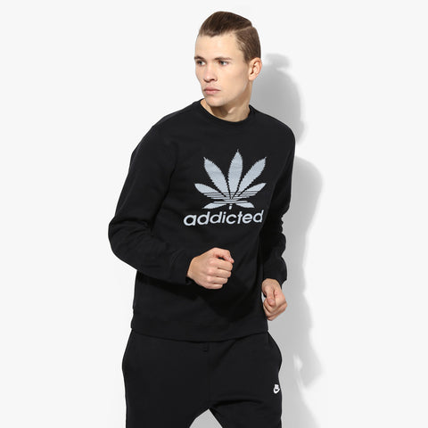 "Men's ""Addicted"" Crew Neck Sweatshirt-Black-BE227"