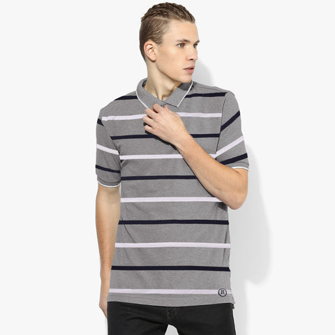 Next Polo Shirt For Men-Gray with Stripe-BE2018