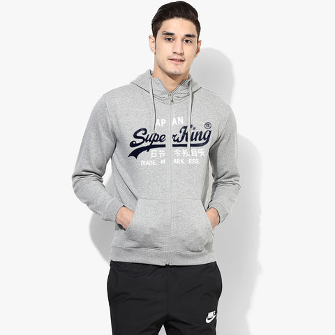 "Men's ""Super King"" Printed Zipper Hoodie-Royal Gray-SKHGR02"