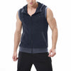 North Coast Full Fur Inside Sleeve Less Zipper Hoodie For Men-Dark Blue Melange-NA7501