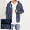 North Coast Full Fur Inside Zipper Hoodie For Men-Dark Blue Melange-NA7499