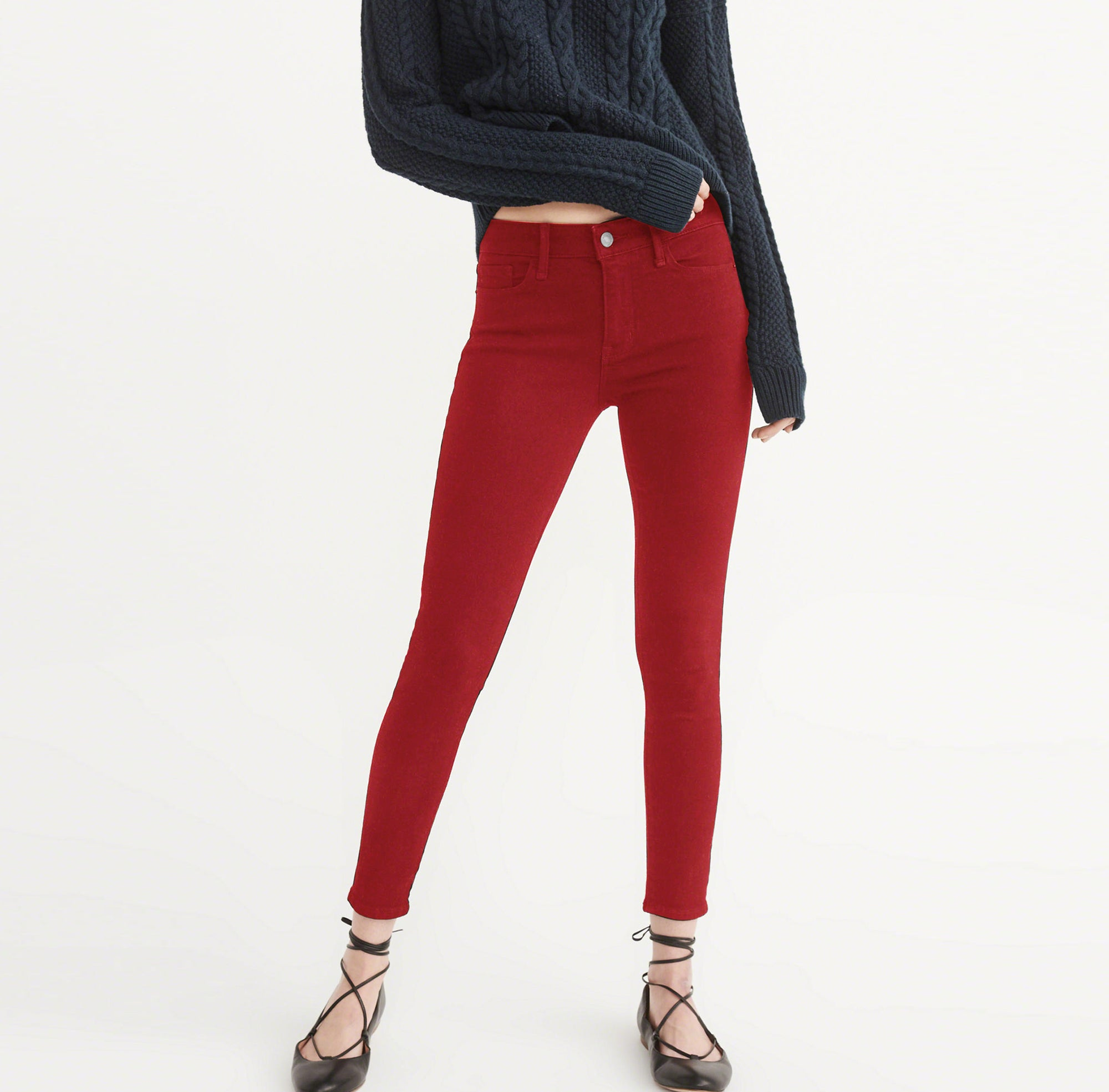 OLD NAVY Stretch Skinny Fit Denim For Ladies-Red-BE4135