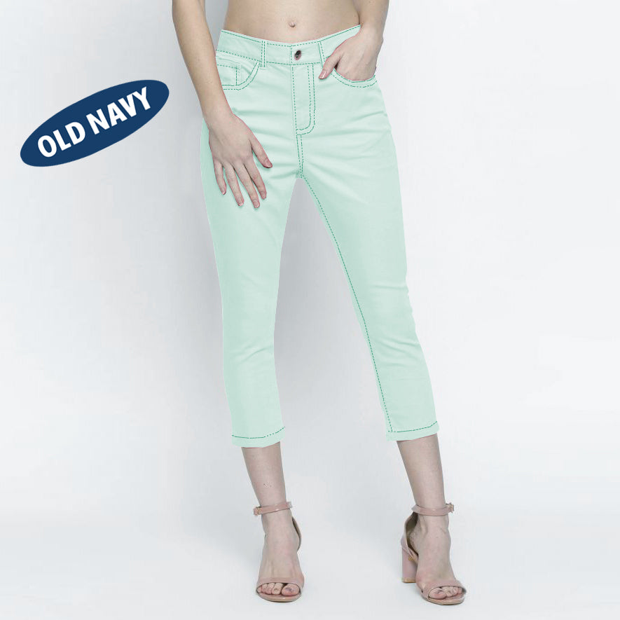 brandsego - Old Navy Stylish Slim Fit Capri For Ladies-Light Cyan Green-NA5856