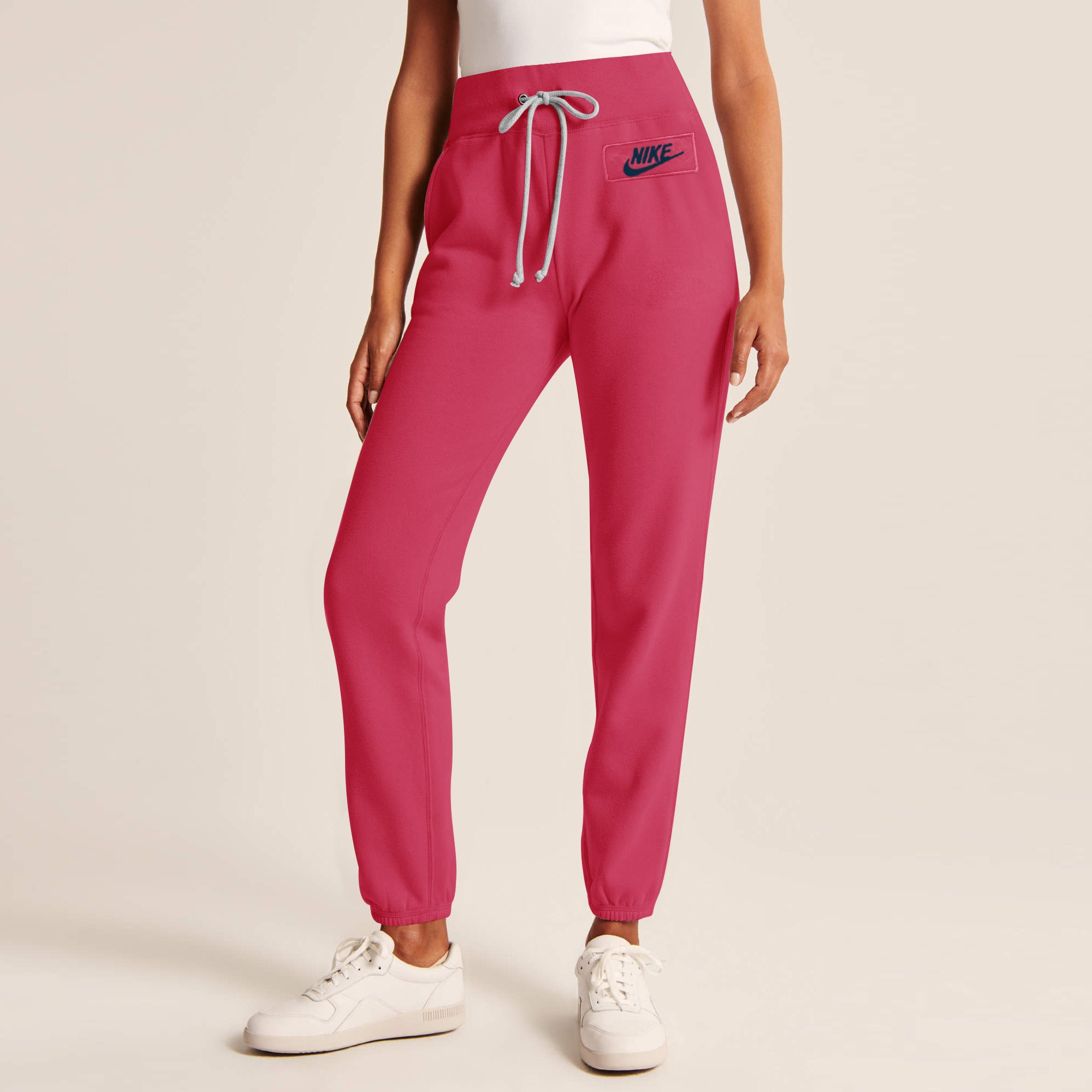 NK Fleece Slim Fit Trouser For Ladies-Pink With Navy Embroidery-SP4007
