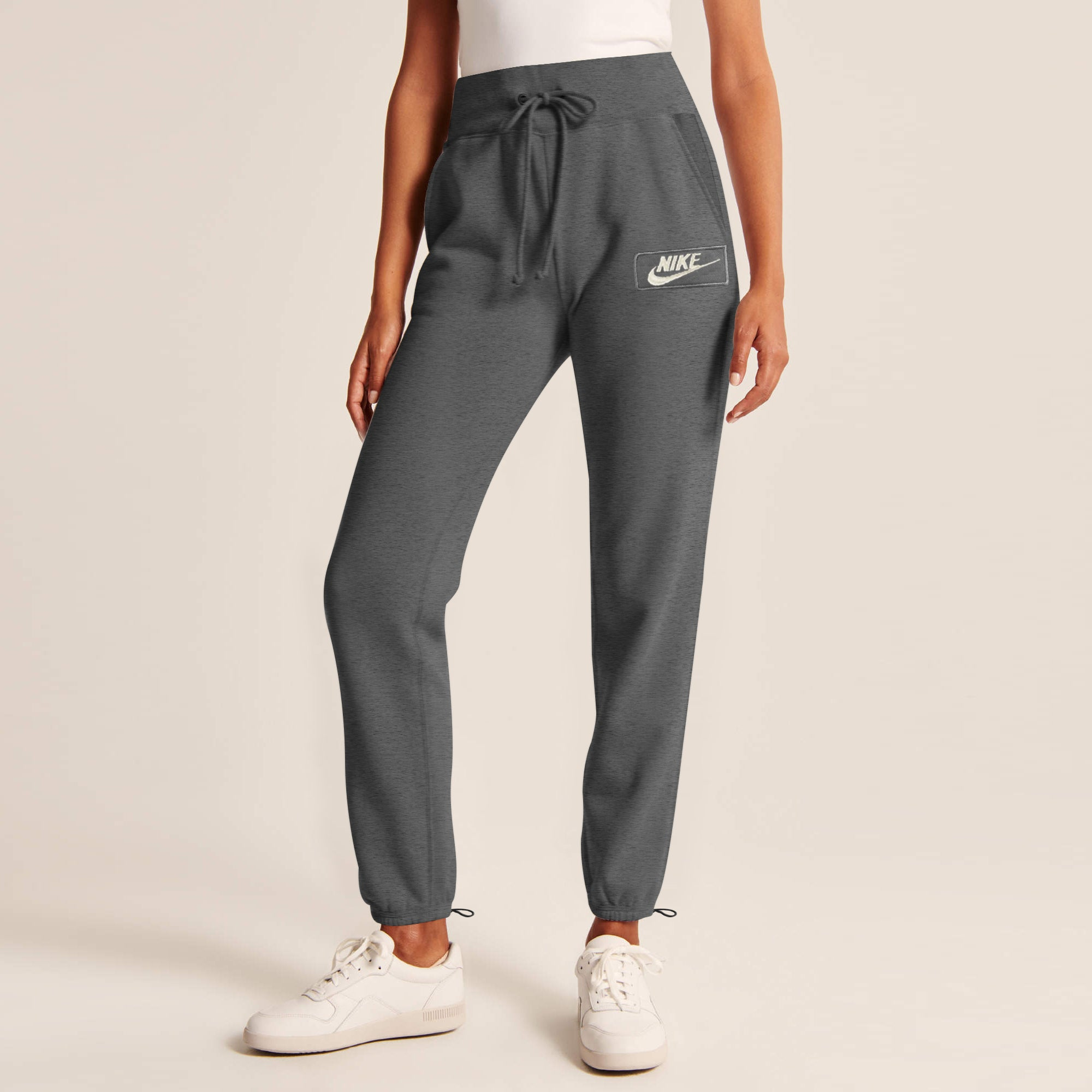 NK Terry Fleece Slim Fit Jogging Trouser For Ladies-Charcoal Melange with White Embroidery-SP4243