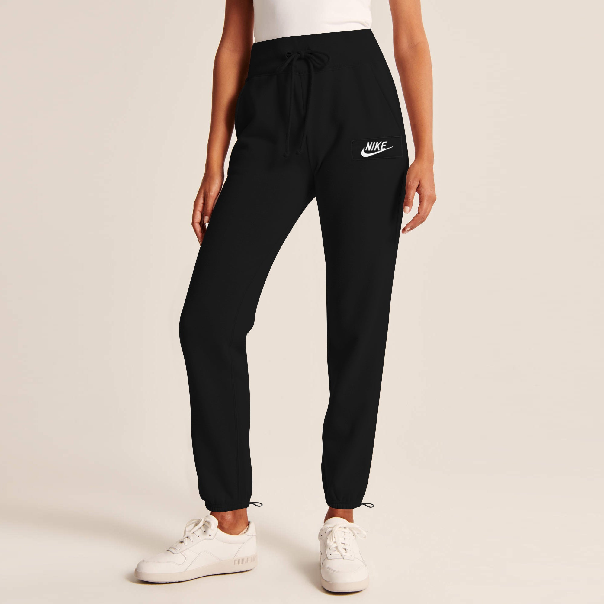 NK Fleece Gathering Bottom Trouser For Ladies-Black With White Embroidery-SP4245