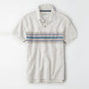 brandsego - Outdoor Life Short Sleeve Single Jersey Polo Shirt For Men-Off White & Multi Striper-NA8132