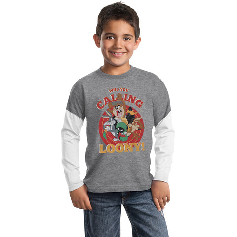 Next Crew Neck Full Sleeve T Shirt For Kid Cut Label-Gray Melange & White Sleeve-BE2298
