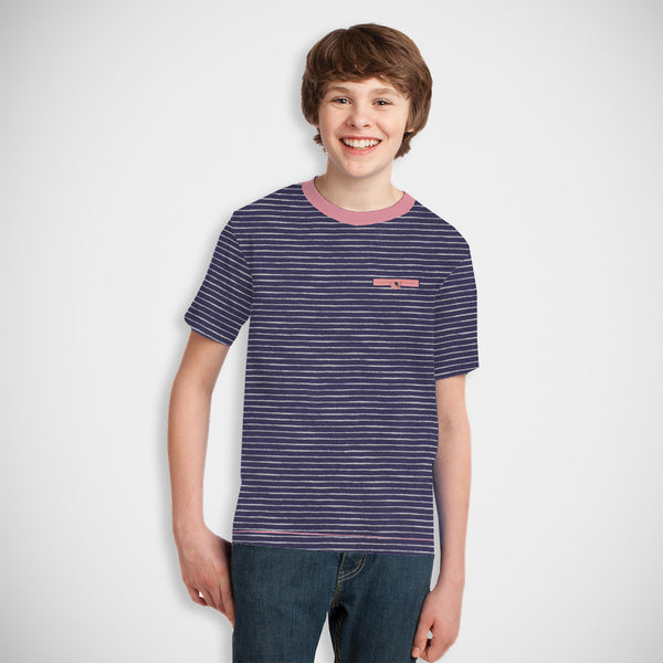 Kids Oliver Duke Cut Label Stylish Polo Shirt-Navy White Lining-DK21