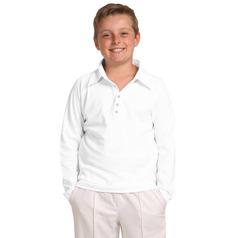 B Quality DMB Full Sleeve Polo Shirt For Boys-White-BE1008