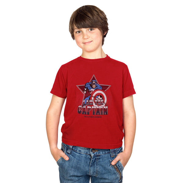 Kids Captain America Printed Tee Shirt-Red-DK03
