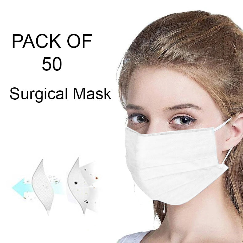Pack Of 50 Mouth and Nose Cover Surgical Mask-White-NA11048