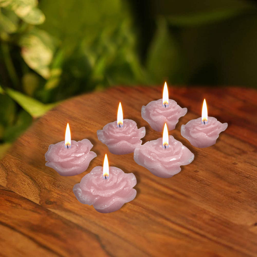 Pack Of 6 Flower Shape Table Candles-Light Pink-AN1003