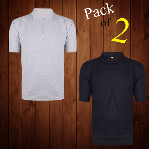 Pack Of 2 Polo Shirts For Men Gray & Black -AT12