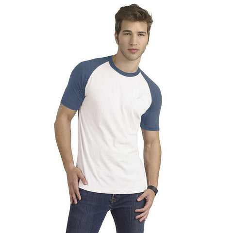 Fat Face Half Sleeve Crew Neck Raglan Sleeve T Shirt For Men-White & Blue-BE7188