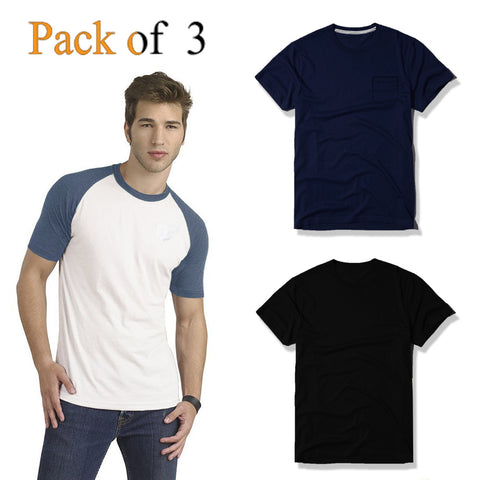 Pack Of 3 Crew Neck T Shirts For Men -AT30
