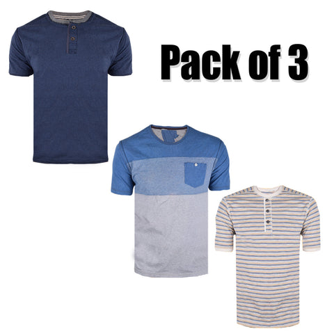 Pack Of 3 Crew Neck & Henley T Shirt For Men-AT66