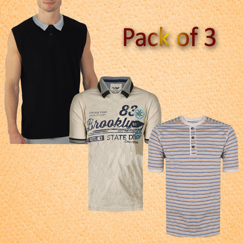 Pack of 3 Polo & Henley Shirts For Men -AT20