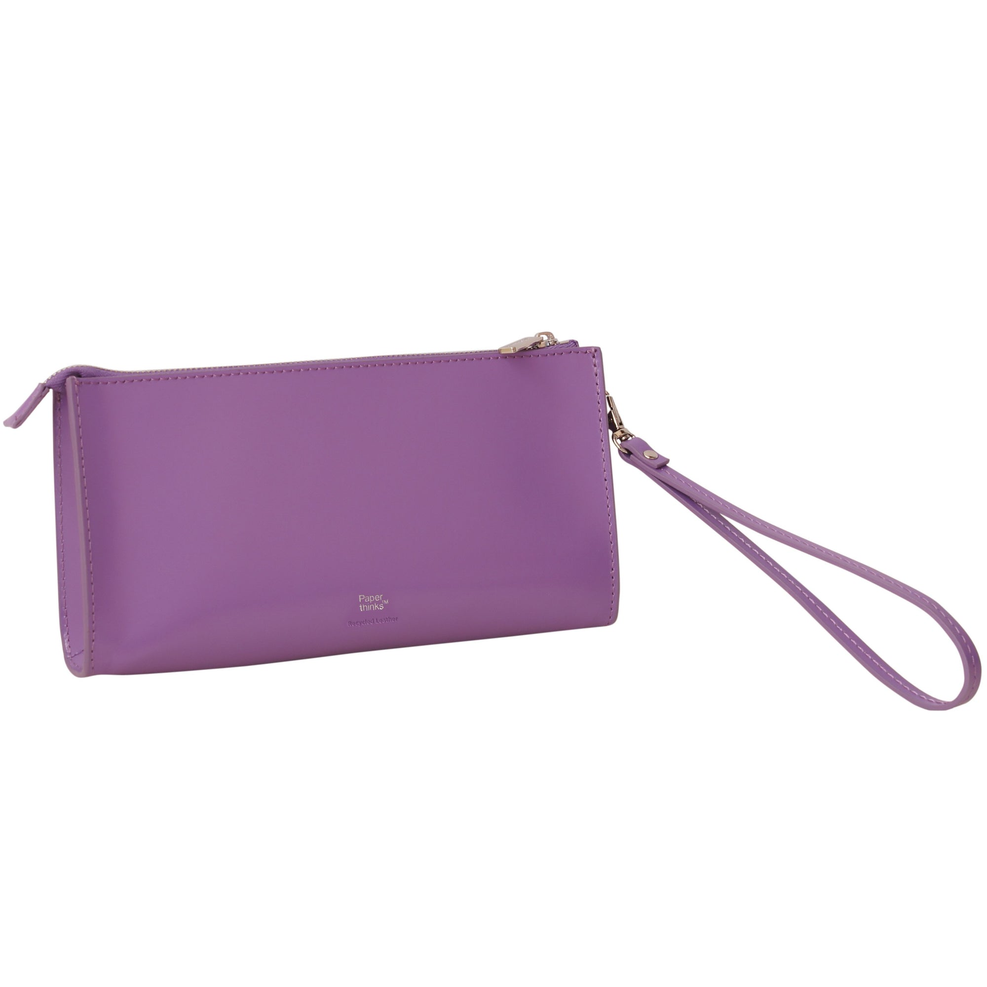 Paperthinks Recycled Leather Clutch Bag with Detachable Wrist Band-NA11398
