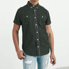 Payper Wear Half Sleeve Button Down Casual Shirt For Men-Dark Olive Green-NA1313