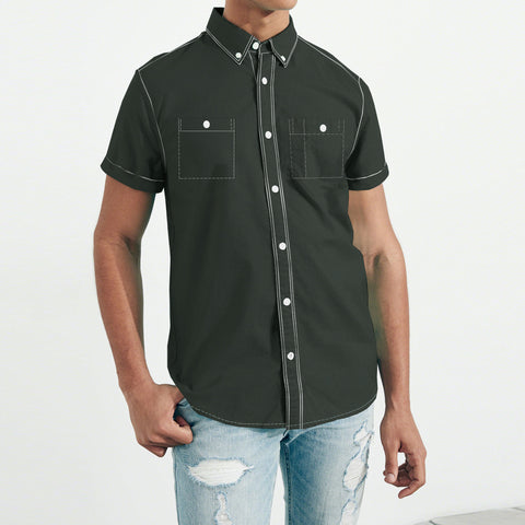 Payper Wear Button Down Casual Shirt For Men-Dark Olive Green-NA1313