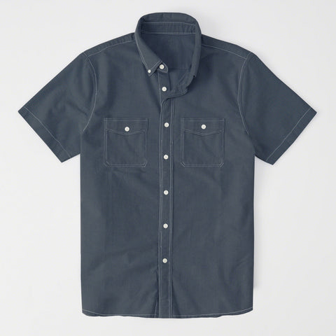 Payper Wear Button Down Half Sleeve Casual Shirt For Men-Dark Slate Gray-NA1314