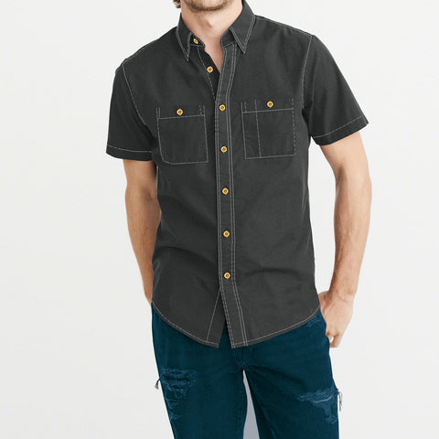 Payper Wear Button Down Half Sleeve Casual Shirt For Men-Dark Gray-NA5006