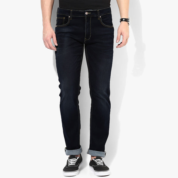 "Men's ""DenimCo"" Navy Faded Wash Straight Fit  Denim - D89"